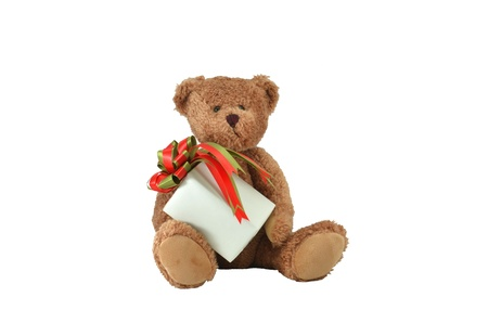 Holiday Teddy Bear and Christmas Gift Stock Photo - 18830690