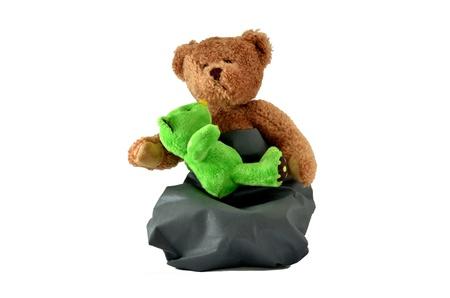Teddy Bear Hug mum and baby Isolated on White photo