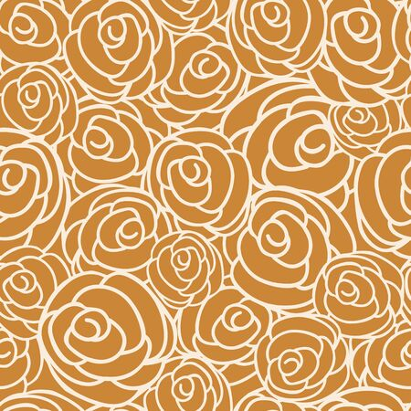 Vector dark orange floral seamless pattern background. Perfect for wallpaper, scrapbook, invitations, interiors or fabric