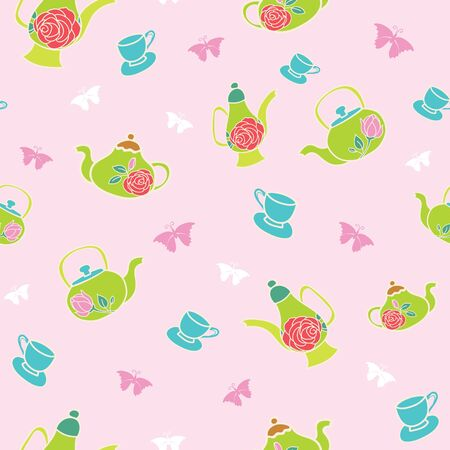 Vector light pink garden tea party seamless pattern background. Perfect for scrapbook, wallpaper, fabric projects.
