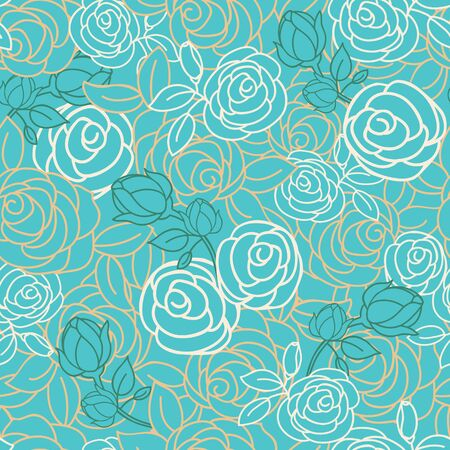 Vector teal floral seamless pattern background. Perfect for wallpaper, scrapbook, invitations, or fabric application.