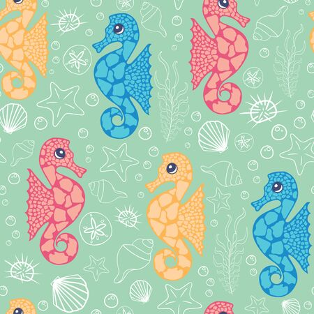 Vector playful colorful seahorses on sea foam green seamless pattern background.