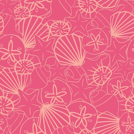 Vector coral pink seashells on dark coral seamless pattern texture background.