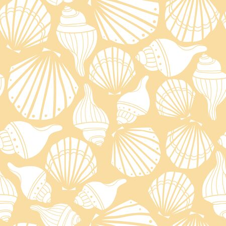 Vector white seashells on yellow seamless pattern background.