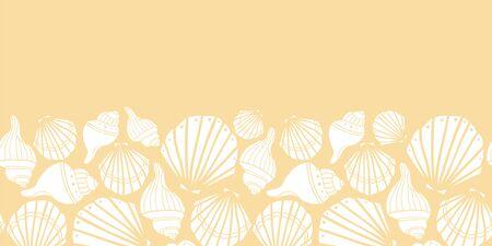 Vector white seashells on yellow seamless border pattern design.