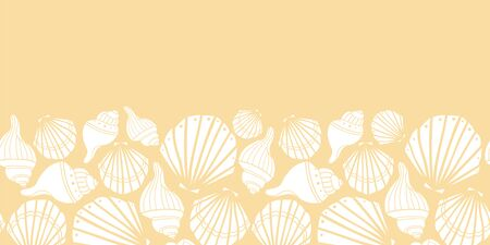 Vector white seashells on yellow seamless border pattern design.