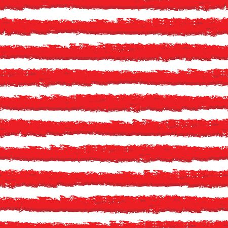 Vector red and white stripes seamless grunge texture background.
