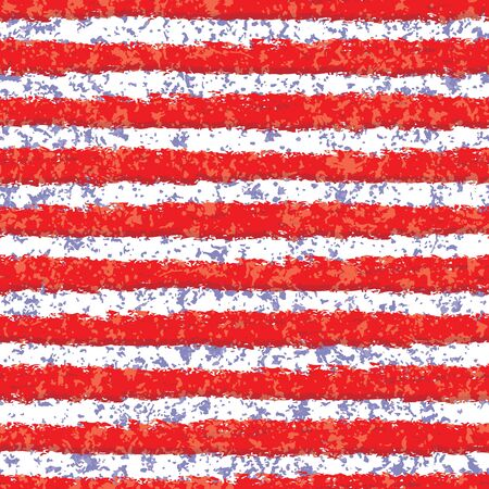 Vector grungy red and white stripes with blue spatter seamless texture background