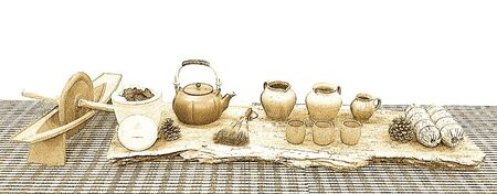tea set: Ceramic tea set display Stock Photo
