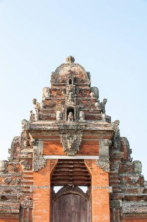 ubud: Traditional temple door in ubud, bali indonesia Stock Photo