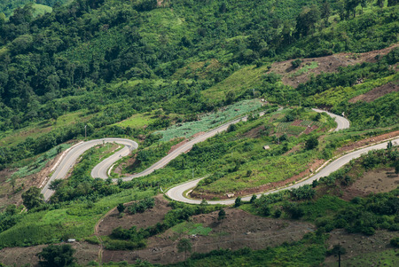 crook: Crooked way of the road on forest at Phetchabun,Thailand