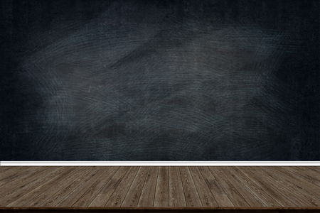 Abstract wood floor texture and chalk rubbed out on blackboard, for text or drawing, Education concept, Interior design display product.