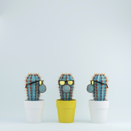 Cactus with glasses in yellow flower pot one different idea cactus cactus with glasses in yellow flower pot one different idea cactus in white flower pots on mightylinksfo