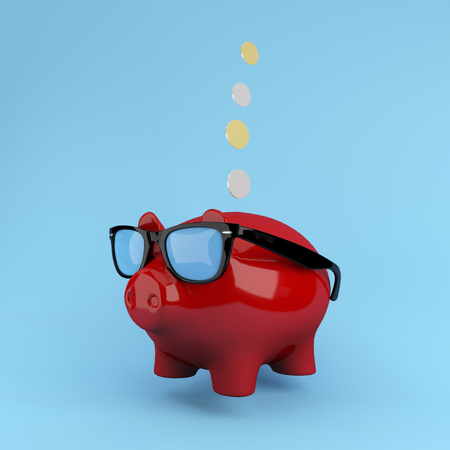 tonto: Red Piggy savings Floating on blue background. used for concept design or website. minimal concept.