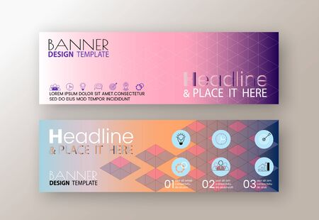 Set of modern design web banners template with abstract line triangle background vector