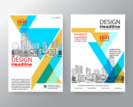 blank magazine: Abstract blue & Yellow diagonal  Brochure annual report cover Flyer Poster design Layout vector template in A4 size Illustration