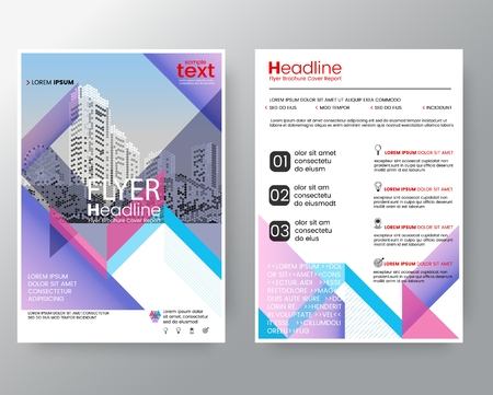 blank magazine: Abstract pink & purple diagonal line Brochure annual report cover Flyer Poster design Layout vector template in A4 size Illustration
