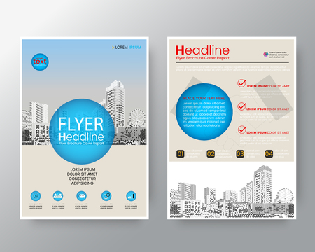 blank magazine: Abstract blue circle Brochure annual report cover Flyer Poster design Layout vector template in A4 size
