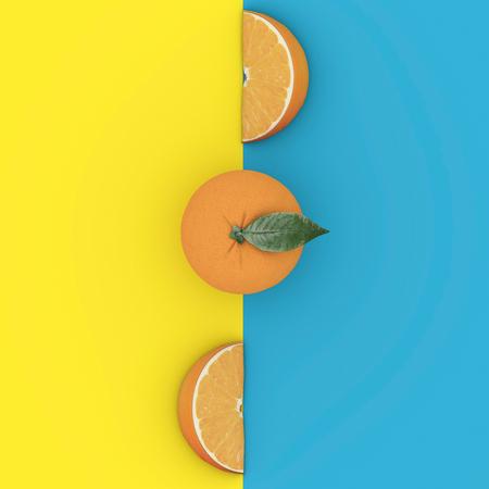 創造的な概念のフルーツ: 青と黄色の背景に顕著なグレープ フルーツ。最小限の食べ物のコンセプトです。上から見るから