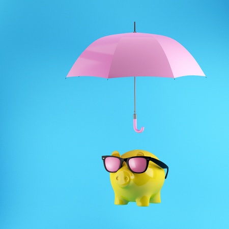 Yellow Piggy savings with protection by pink umbrella on blue background.minimal concept idea.