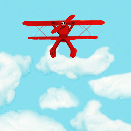 manage transportation: Outstanding Red Plane flying over clouds from the most dominant countries around the world i.e. US , Europe, Chinese , Japanese ,  Australian. Aviation concept. Stock Photo