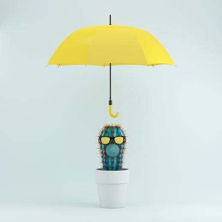 Cactus in white flower pot with yellow umbrella on blue pastel background, Minimal concept idea.  Stock Photo