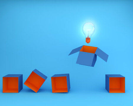Light bulbs glowing think outside the box on blue background, minimal concept idea.Creative ideas about thought leader that is recognized as an authority in a specialized field and whose expertise.
