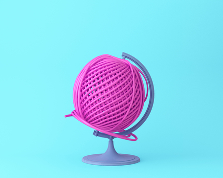 Globe sphere orb Pink thread ball concept on pastel blue background. minimal idea concept. An idea creative to produce work within an advertising marketing communications or artwork design.