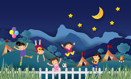 Illustration of kids summer camp education with happy children doing activities on camping at night. Creative Idea paper art style. Vector