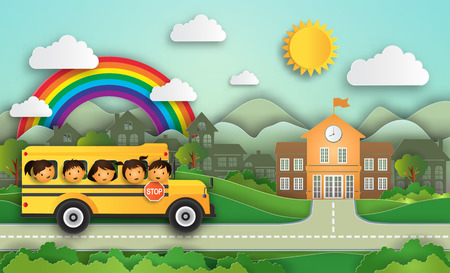 Illustration of Year 2018 Education concept welcome back to school!  School bus with cute kids.The cheerfully of the children to enter the higher education. vector paper art and craft style Illustration