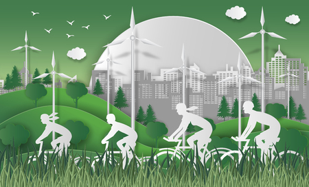 Concept de la journée mondiale de l'environnement. Concept énergétique avec des terres et des arbres écologiques. Avec la famille heureuse à vélo. Pour encourager la prise de conscience et l'action en faveur de la protection de l'environnement. style d'art de papier. Banque d'images - 94288376