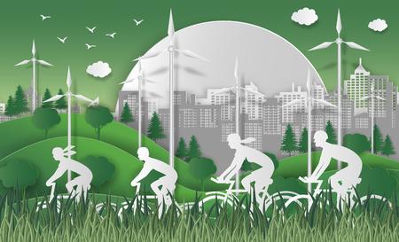 Wereld milieu dag concept. Energieconcept met groene Eco-aarde en bomen. Met gelukkige familie rijden fiets. Voor het stimuleren van bewustzijn en actie voor de bescherming van het milieu. papier kunststijl.