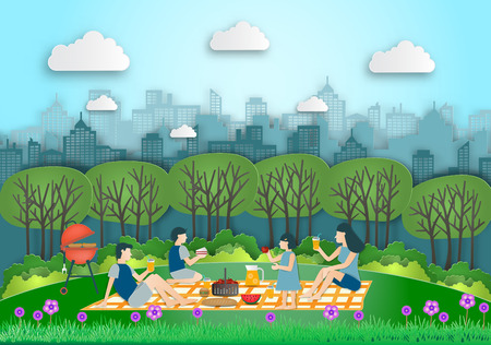 Family making picnic on city park outdoor. Dad,mom,son and daughter are resting in nature. the park was built on the outskirts. in spring flowers season. vector paper art and craft style.