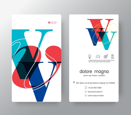 Letter  V business card design template. Vector graphic design elements for Corporate Identity.