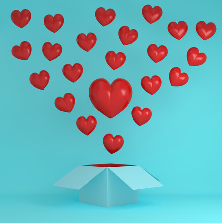 Outstanding red heart creative idea outside the box on blue pastel background.  Idea illustration of love and valentine day depicts everlasting love passion for romantic couple. minimal love concept.
