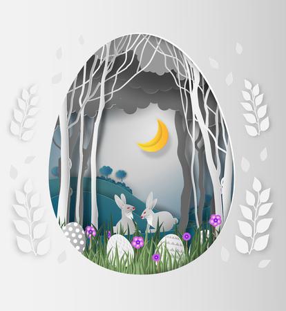 Ideas creativas del día de Pascua, marco Forma de huevo de papel cortado con conejo y hojas en el bosque por la noche y la luna. arte en papel y estilo de arte digital. ilustración vectorial Ilustración de vector