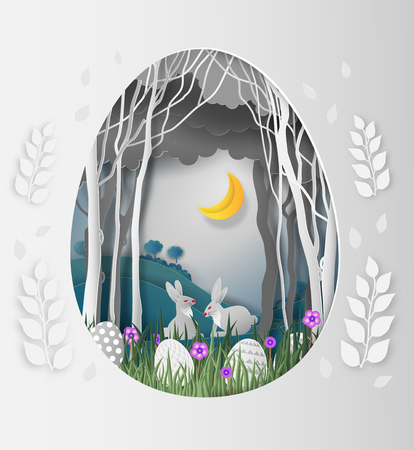Creative ideas of Easter day, frame Egg shape of paper cut with rabbit and leaves in the forest at night and the moon. paper art and digital craft style. vector Illustration Vettoriali
