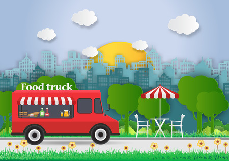 Creative ideas of Food Truck with Food delivery. Picnic. Mobile cafe in public park.Outdoor recreation. paper art and digital craft style. vector Illustration