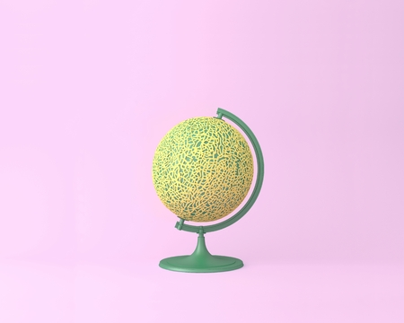 Globe sphere orb Cantaloupe concepts on pastel pink background. minimal idea food and fruit concept. An idea creative to produce work within an advertising marketing communications or artwork design. Reklamní fotografie