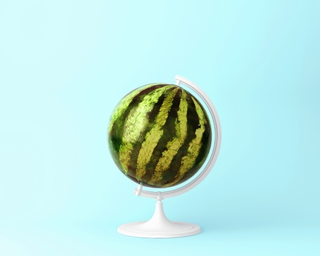 Globe sphere orb watermelon concepts on pastel blue background. minimal idea food and fruit concept. An idea creative to produce work within an advertising marketing communications.  Business concepts