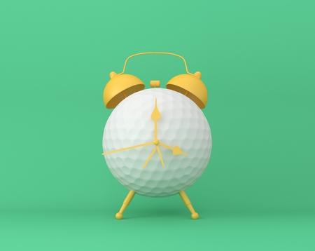 Creative idea layout Golf alarm clock on pastel green background. minimal idea sport concept. Idea creative to produce work within an advertising marketing communications or artwork design. 版權商用圖片