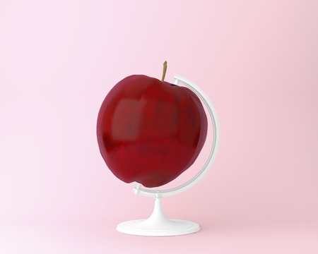 Globe sphere orb Apple concepts on pastel pink background. minimal idea food and fruit concept. An idea creative to produce work within an advertising marketing communications. Business concepts Stock Photo