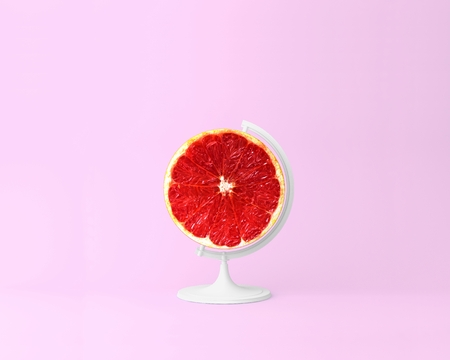 Globe sphere orb,Grapefruit slice on pastel pink background. minimal idea food and fruit concept. Idea creative to produce work within an advertising marketing communications. Business concepts