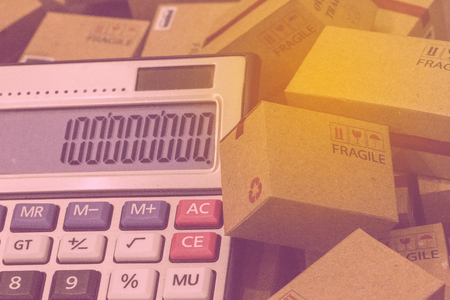 Business finance : papers boxes and calculator with numbers appear. Ideas about Increasing product rates the expansion of export business to plan marketing or finance go future.