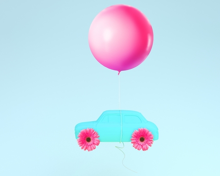 Flower layout wheel and car blue with pink balloon floating on blue pastel background. minimal idea creative concept.