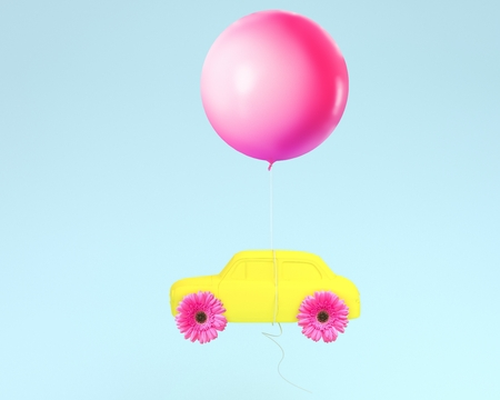 Flower layout wheel and car yellow with pink balloon floating on blue pastel background. minimal idea creative concept.