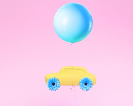 Flower layout wheel and car yellow with blue balloon floating on pink pastel background. minimal idea creative concept.
