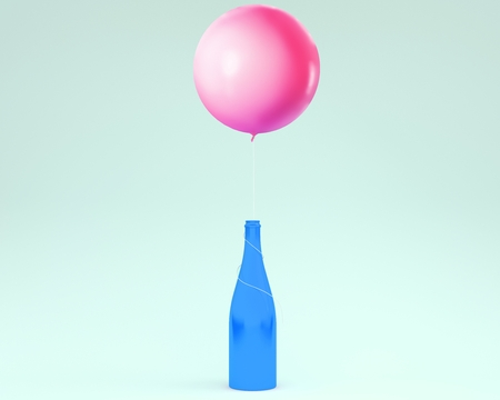 Champagne bottle with pink balloon floating on blue pastel background.  minimal idea creative concept. Stock Photo