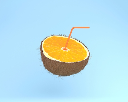 Orange slice, juice with Straws in coconut on pastel blue background. minimal fruit concept. Idea creative foods and drinks that are typically enjoyed at summer times festivals around the world Stock Photo