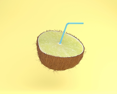 Lemon juice, Lime slice with Straws in coconut on pastel yellow background. minimal fruit concept. Idea creative foods and drinks that are typically enjoyed at summer times festivals around the world